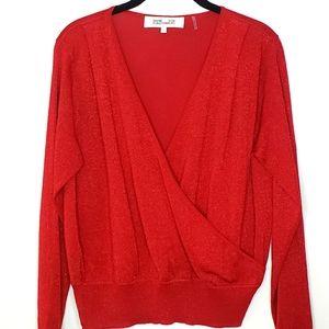 Diane Von Furstenberg Red Metallic Sweater